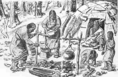 Native Americans processing syrup